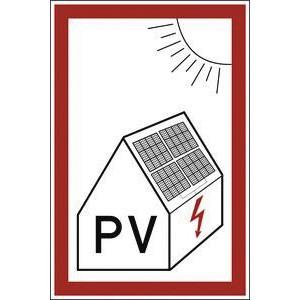Feuerwehrhinweisschild zur Abschaltung von Photovoltaik-Anlagen