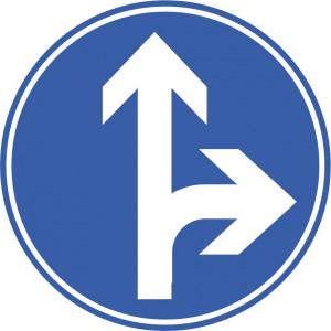 Vorgeschriebene Fahrtrichtung gerade und rechts