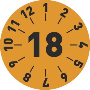 Standard-Prüfplakette Jahr: 15, Monatsangabe  in weiß,blau,gelb,grün,rot,orange