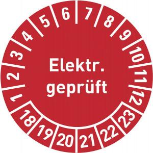 Elektr. Geprüft, Jahr von 14-19, mit Monatsangabe, in rot,blau,grün