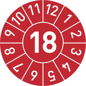 Standard-Prüfplakette Jahr: 15, mit Monatsangabe  in rot,blau,grün