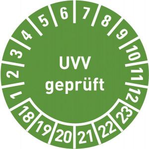 UVV geprüft Jahr 14-19, mit Monatsangabe, in rot,blau,grün
