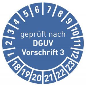 geprüft nach DGUV Vorschrift 3 16-21, mit Monatsangabe, in rot,blau,grün