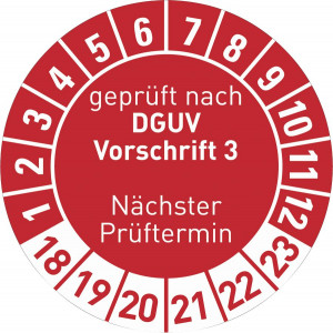 geprüft nach DGUV Vorsschrift 3 Nächster Prüftermin Jahr 16-21, in rot,blau,grün