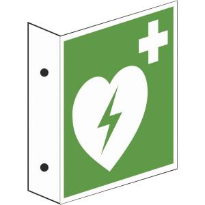 Fahnenschild Automatischer Externer Defibrillator (AED)