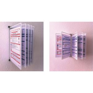 Wandhalter aus Metall mit 5 Stück blanko Klapprahmen mit reflexfreier Schutzhülle für 10 Betriebsanweisungen einschließlich Befestigungsmaterial.