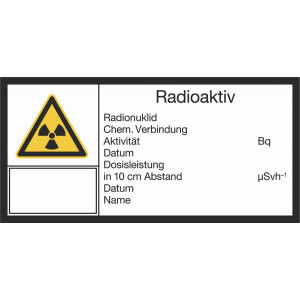 Radioaktiv, Radionuklid, Chem. Verbindung, Aktivität, Datum, Dosisleistung in 10 cm Abstand, Datum, Name