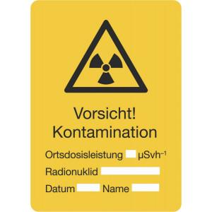 Vorsicht! Kontamination, Ortsdosisleistung, Radionuklid, Datum, Name