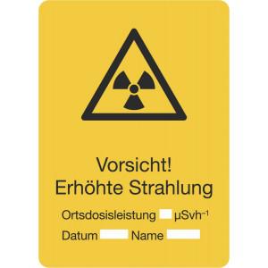 Vorsicht! Erhöhte Strahlung, Ortsdosisleistung, Datum, Name